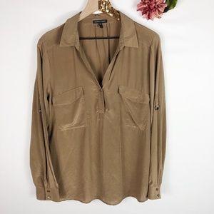[EILEEN FISHER] 100% Silk Long Sleeve Blouse
